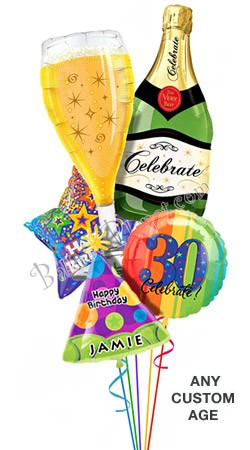 Custom Name & Age<br> Bubbly Birthday Balloon Bouquet <br>(5 Balloons)